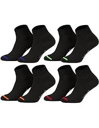 Tobeni 8 Paar Kurzsocken Quarter Socks ohne Gummi für Sie und Ihn - Socken in uni oder farbige Spitze