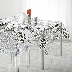 """Kamaca - Mantel para interior y exterior, impermeable y resistente a las manchas, color transparente/oliva/gris, diseño """"hojas y flores"""", 2 tamaños a elegir, toalla, Transparent / Grün, 140 x 240 cm"""