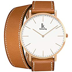 Alienwork IK Wrap2 Quartz Watch elegant Wristwatch stylish Double Wrap Leather white brown 98469CL-04