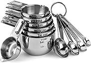 Hudson Essentials Juego de tazas y cucharas medidoras de acero inoxidable, juego de 11 piezas apilables