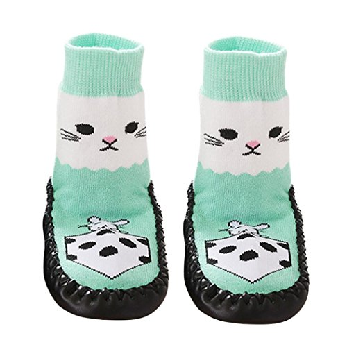Socken Longra Cartoon Kinder Kleinkind Baby Anti-Rutsch-Socken Schuhe Stiefel Slipper Socken (0 -24 Monate) (11cm 0-6months, Green) (Low-knöchel-socken 11)