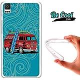 Becool® Fun - Funda Gel Flexible para Bq Aquaris E4.5 .Carcasa TPU fabricada con la mejor Silicona, protege y se adapta a la perfección a tu Smartphone y con nuestro diseño exclusivo Caravana de surf