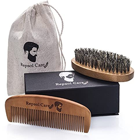 Beard Brush and Beard Comb kit for Men Grooming, Styling & Shaping - Handmade Wooden Comb and Natural Boar Bristle Beard Brush set for Men Beard & Moustache by Repsol Care
