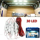AMBOTHER 30 LED White Interior Lights Lamp Kit Loading Light For LWB Van Trailer Lorries with LED Project Lens 12V (10 Modules)