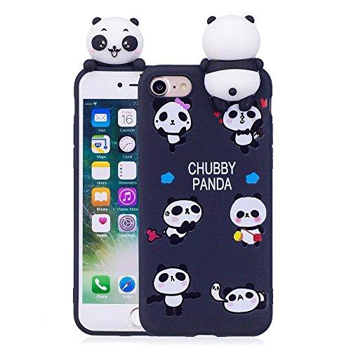 LAPOPNUT 3D Cartoon Panda Case for iPhone 6 iPhone 6S Hülle Soft Back Cover Handyhülle Candy Farbe Lovely Panda Bear Design Slim Flexible Schutzhülle Bumper, Black (Iphone 6 Soft Case Cartoon)