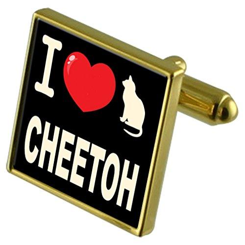 Select Gifts Ich liebe meine Katze Gold-Tone Manschettenknöpfe Cheetoh - Cheetoh Katzen