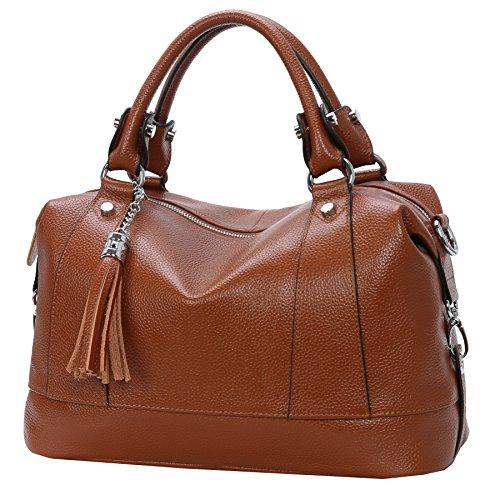 HESHE Damen Leder Schultertasche Tote top-Griff-handtaschen umhängetasche groß Wein - Griff Designer-handtasche