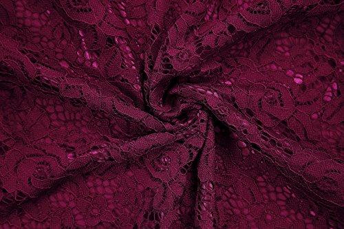 Gigileer Elegant Damen Kleider Spitzenkleid Cocktailkleid Knielanges Vintage 50er Jahr hochzeit Party weinrot L - 4