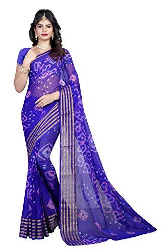 Shree Sondarya Bandhani Blue Tussar Silk Bandhani Saree With Blouse Piece