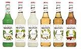 Monin Nuss Set (6 x 0.7l Flaschen: Haselnuss, Mandel, Macadamia, Kastanie, Pistazie, Kokosnuss)