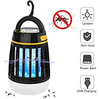 Elover Bug Zapper, 3 in 1 Mosquito Insect Killer Lamp Camping Lantern Power Bank Portable Waterproof Outdoor Lamp with Rechargeable Battery and Retractable Hook (Black)