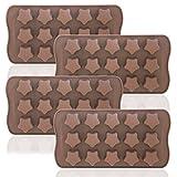 Vassoio di ghiaccio a forma di stelle, Dakuan 4confezioni flessibile per il cioccolato, riutilizzabili a forma di stelle Candy making Molds, food grade stampi per cioccolato stampi, Homemade Soap–marrone