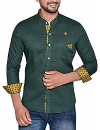 PP Shirts Men Green Coloured Chinese Collar Shirt