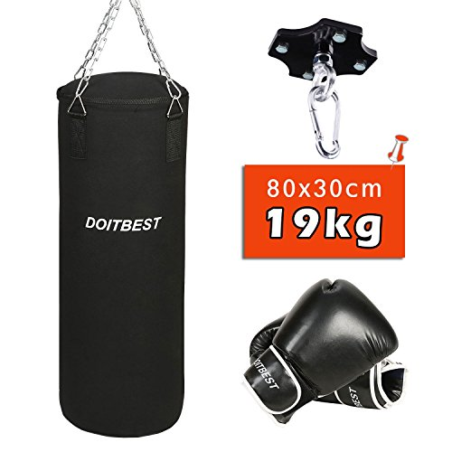 CCLIFE Boxsack Set Gefüllt Kickboxen mit Deckenhalterung Stahlkette Training Handschuhe 10oz/12oz/14oz Punchingsack gewicht Punching Bag 19kg