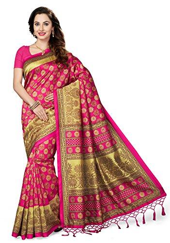 ishin Art Silk Saree With Blouse Piece(Ishinrtrwzsrk-1002_Pink Free Size)