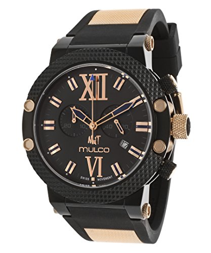 Mulco Women's 47mm Black Silicone Band Steel Case Swiss Quartz Chronograph Watch MW311010024