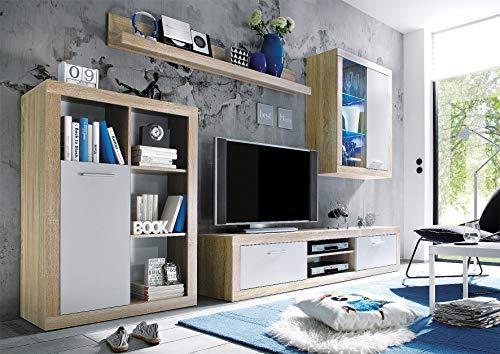 TV Wohnwand Sonoma Eiche hell/weiß Dekor - 2