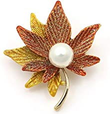 Crunchy Fashion Gold Metal Maple Leaf Men and Women Brooch
