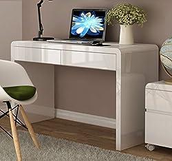 White High Gloss 2 Drawer Workstation/Desk for Office or Home Office.