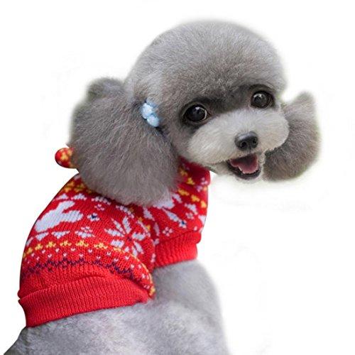 Niedliche Festive Weihnachten rot und weiß Fair Isle Schneeflocke Hund Katze Warm Winter Knit Hoodie Kapuzen Pullover