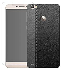 Combo of Black Leather HD UV Printed Mobile Back Cover and Tempered Glass For Letv Le 1S