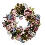 Tubayia Künstliche Blumenkranz Seideblumen Rattan Frühling Dekokranz für Hochzeit Dekoration