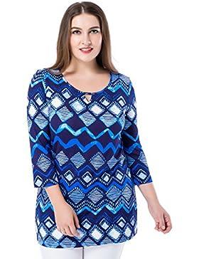Chicwe Tops Túnicas Tallas Grandes Mujeres Blusa Camiseta Estampado 3/4 Mangas Cuello con Abertura EU44-58