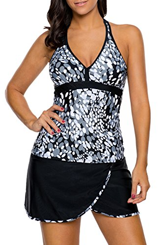 HHHHHING Tankinis für Damen Womens Printed Swim Top schwarz Shorts 2 Stück Blouson Tankini Retro Beachwear Damen Bademode,Gray,L (Badeanzug Top Blouson)