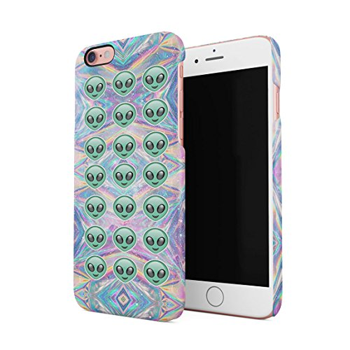 Psycho Heart Tye Dye Rainbow Polka Dots Pattern Custodia Posteriore Sottile In Plastica Rigida Cover Per iPhone 6 & iPhone 6s Slim Fit Hard Case Cover Iridescent Aliens