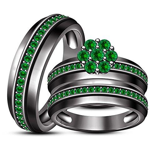 Lilu Jewels HIS & HER Flower Form Engagement & Hochzeit Trio Ring Set in rhodiniert Schwarz (Ihre Hochzeits-set Und Seine Trio)