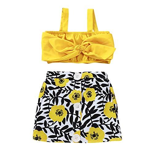 LEXUPE Kleinkind Kinder Baby Mädchen Strap Rüschen Tops Blumendruck Bogen Shorts Outfit Sommer(Gelb,90)