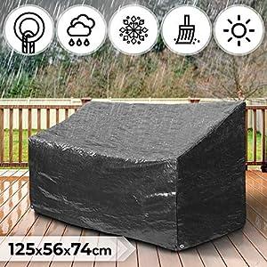 MIADOMODO Abdeckhaube Gartenmöbel – B/T/H: 125/56/74 cm, Schutz vor Schmutz und Feuchtigkeit, Gartenbank 3 Sitzer…
