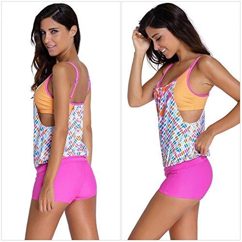 Minetom Donne Sexy Tankini Estate Costume Da Bagno Strisce Beachwear Insieme Del Bikini Rosa