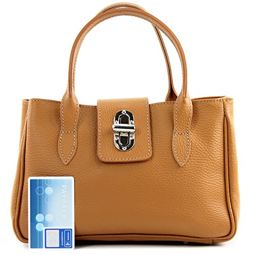 Borsa donna mini, vera pelle italiana, effetto coccodrillo, TL03 Glattleder Camel
