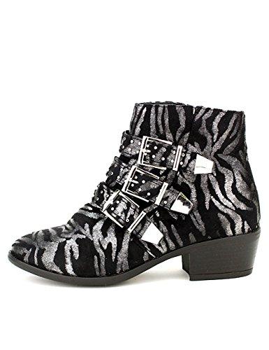 Cendriyon Bottine Noires Zèbrées MULANDA Chaussures Femme