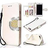UEEBAI Portefeuille Coque pour iPhone 7 Plus 8 Plus, Premium Glitter PU étui en Cuir Miroir [Boucle de Diamant] [Fentes pour Cartes] [Fermoir magnétique] Stand Fonction Strass TPU Housse - Blanc