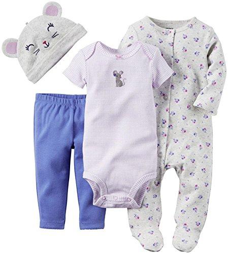 Carter's Bekleidungsset Baby Maus 4 teilig Schlafanzug Mütze Body Hose girls outfit Mädchen, Lila Grau, 9 Monate (Carters-bodys Mädchen)