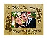 bois de jour du mariage de cadre personnalisé photo gravé cadre - 4 x 6 pouces horizontaux