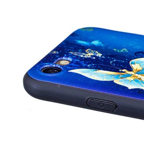 Coque iPhone 7, Étui iPhone 7, ISAKEN Coque pour Apple iPhone 7 - Étui Housse Téléphone Étui TPU Silicone Souple Coque Ultra Mince Gel Doux Housse Motif Arrière Case Antichoc Doux Durable Résistant Au or papillon bleu