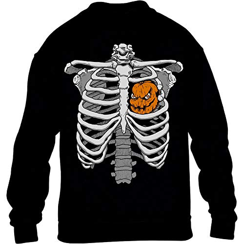 Halloween Skelett Brustkorb Mit Kürbis Kinder Pullover Sweatshirt XL 152/164 Schwarz