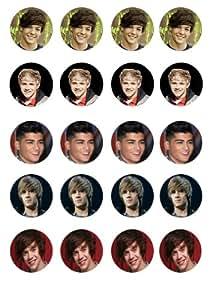 20 vorgeschnittene 'One Direction' rund essbare Kuchen-Deckel-Dekorationen