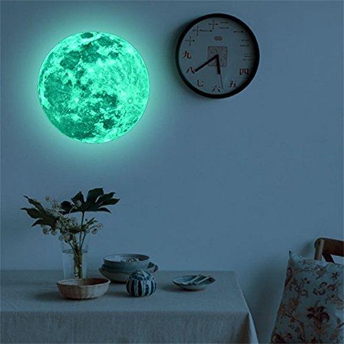 Cwemimifa Diamant-Anstrichsätze für Kinder,5cm 3D großer Mond fluoreszierender Wandaufkleber entfernbarer im Dunkeln leuchten Aufkleber,Grün,5cm
