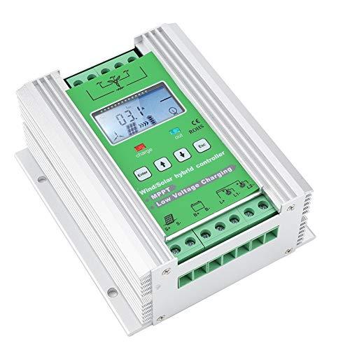 ASHATA Hybrid Solar Wind Laderegler,MPPT Solarladeregler Windladeregler mit LCD Display,Wind Solar Hybrid Controller über Geschwindigkeit Überspannung Soft Automatikbremsschutz Wind 600W(JW2450) Hybrid-display