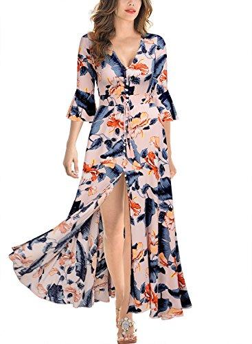 Miusol-Damen-Flare-Floral-23-rmel-Sommer-Casual-Langes-Kleid