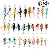 LotFancy 30 Leurres de Pêche - Appâts Poisson Pêche Carpe Brochet Bouchons Mouche Minnow Basse, Crochet Triple, Multi-coloré