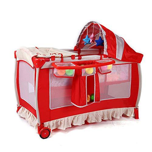 Mr.LQ Babyreisebett tragbar 2 in 1 Design als Kinderbett Activity Play Center Klapprahmen mit Matratze,Red (Kinderbett Activity Center)