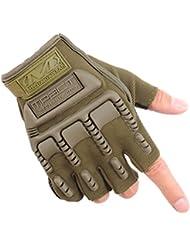Los guantes calientes guantes y cómoda Hombres primavera y tácticas de verano al aire libre que lucha anti - resbalón anti - corte de ciclo de los guantes de deportes de otoño e invierno Half - Guantes dedo deporte ( Color : Verde )