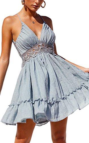 Kleid Damen Spitzenkleid Träger Rückenfreies kleider Sommerkleider Strandkleider Hellblau M ()