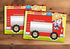Idea Regalo - Inviti per festa di compleanno per bambini, con motivo pompieri, 20 pezzi (lingua italiana non garantita)