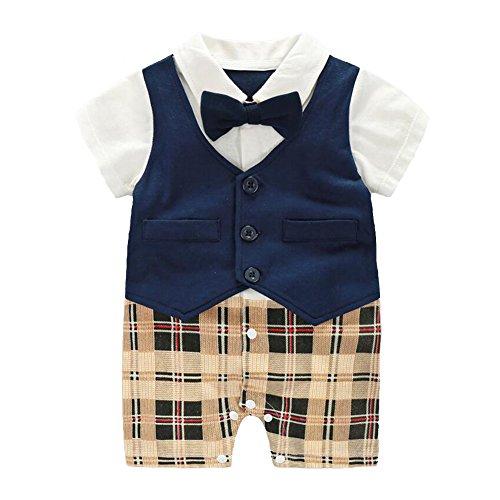 Fairy Baby Baby Outfits Jungen Smoking Anzug Kurze Abendkleider Festliche babymode Kleidung mit Fliege Strampler, Navy blau Plaid, 0-3 Monate